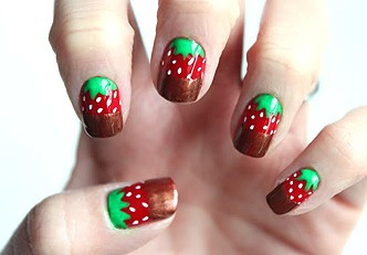 unhas_decoradas_morango_com_chocolate